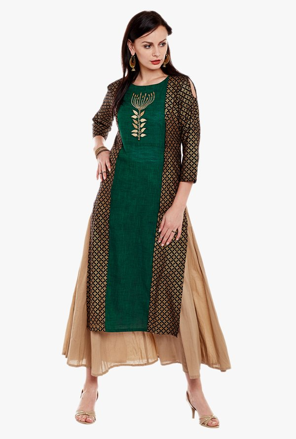 Varanga Green Embroidered Cotton Kurta