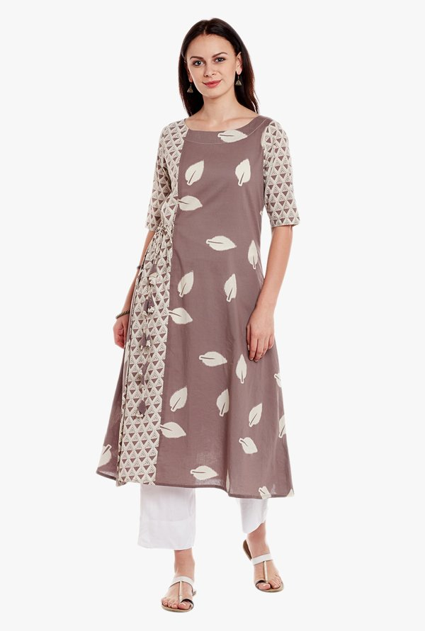 Varanga Grey & White Printed Cotton Kurta With Pant