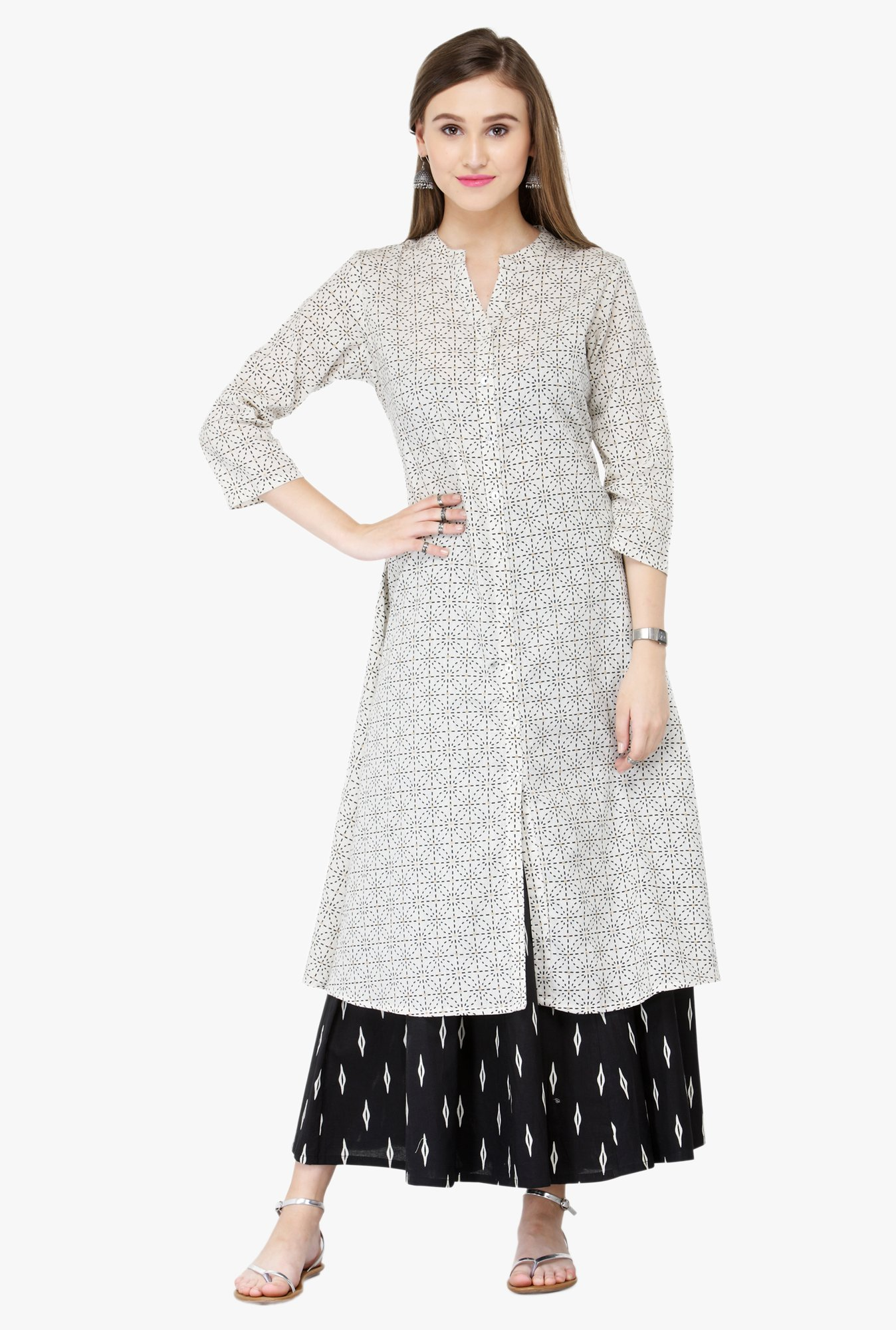 Varanga White & Black Printed Cotton Kurta With Palazzo