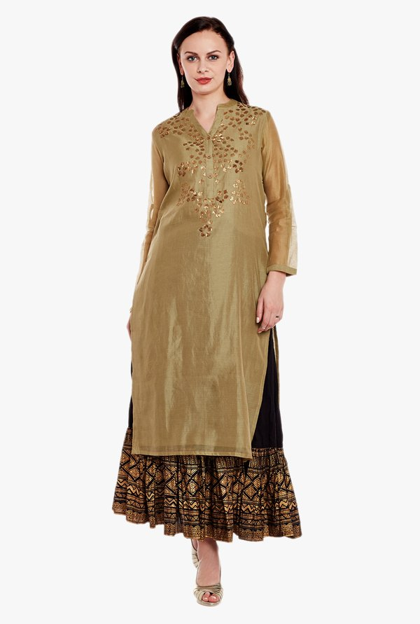 Varanga Olive & Black Embellished Kurta With Skirt