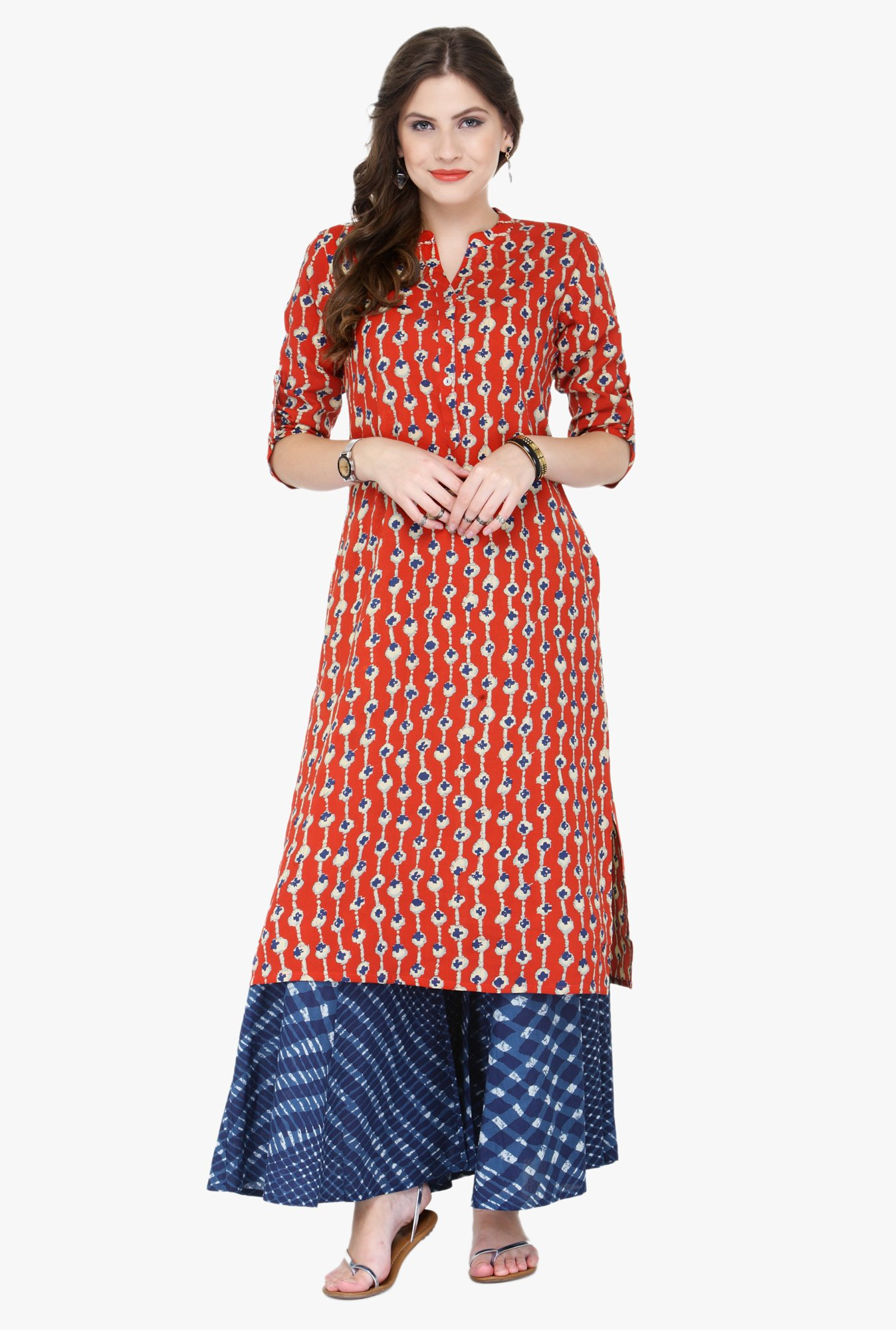Varanga Red & Blue Printed Cotton Kurta With Palazzo