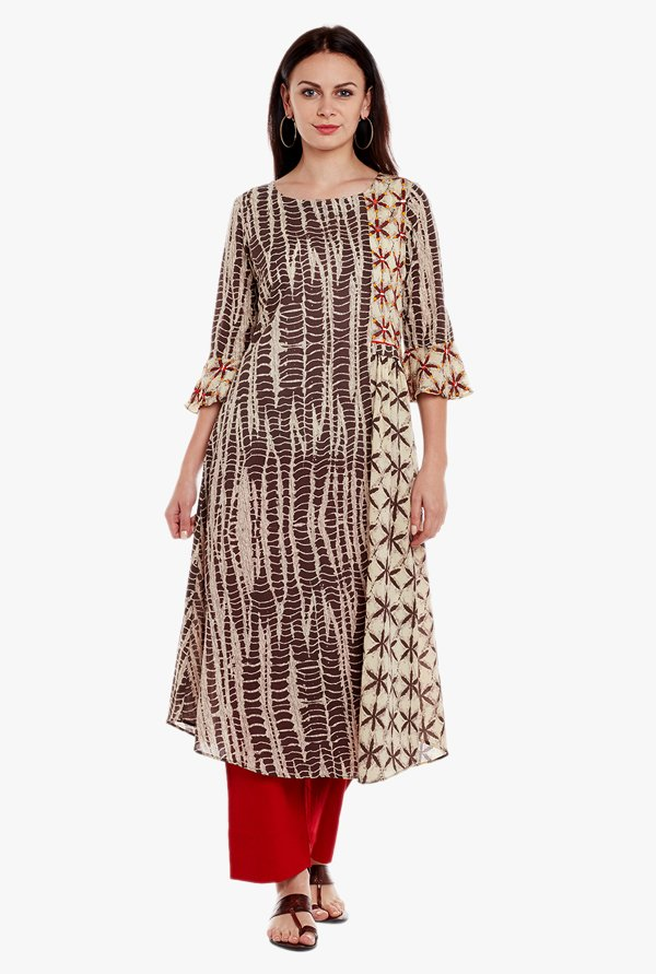 Varanga Brown Printed Cotton Kurta