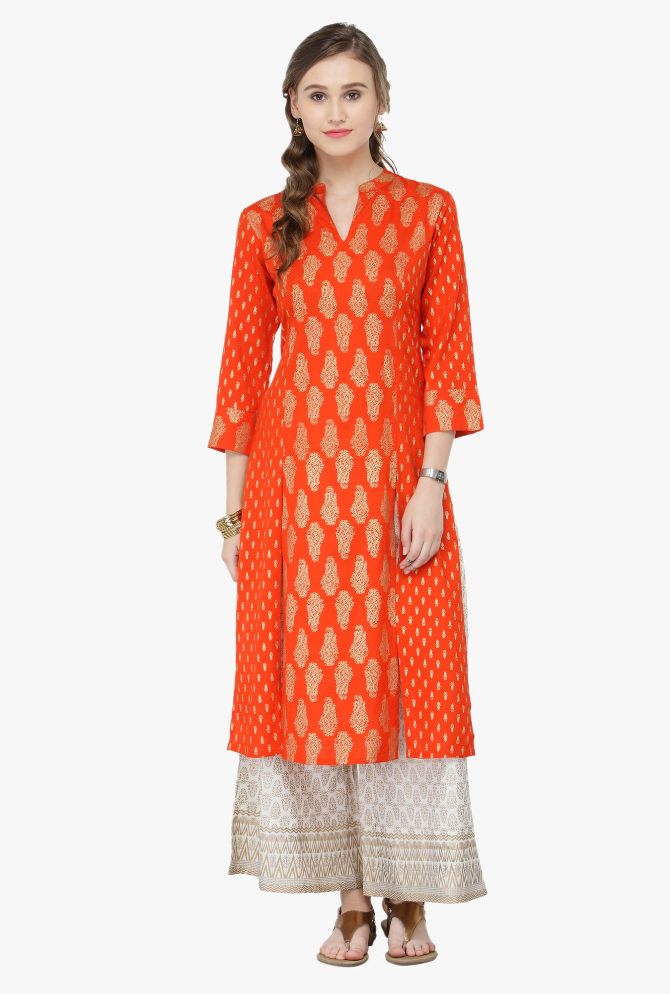 Varanga Orange Printed Rayon Kurta