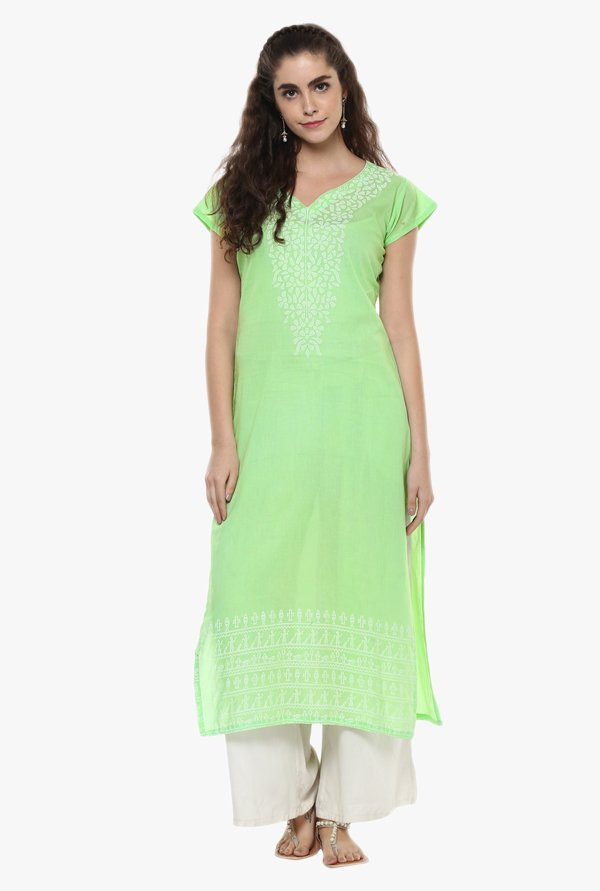 Ziyaa Green Printed Cotton Kurta