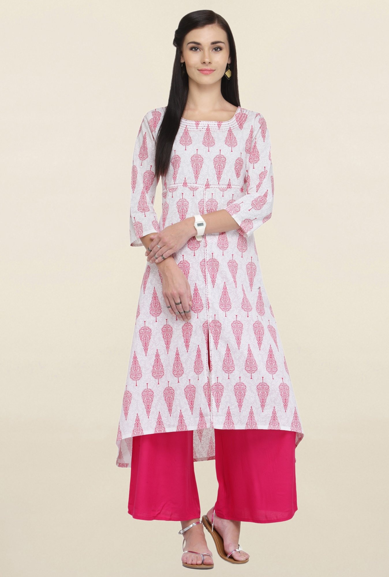 Varanga White Printed Cotton Straight Kurta