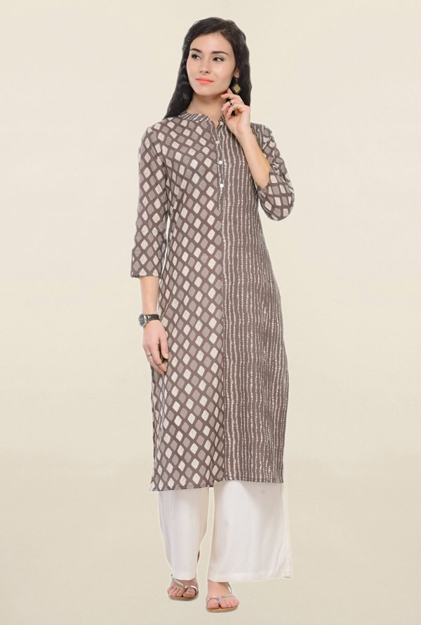 Varanga Grey & Off White Printed Cotton Kurta With Palazzo