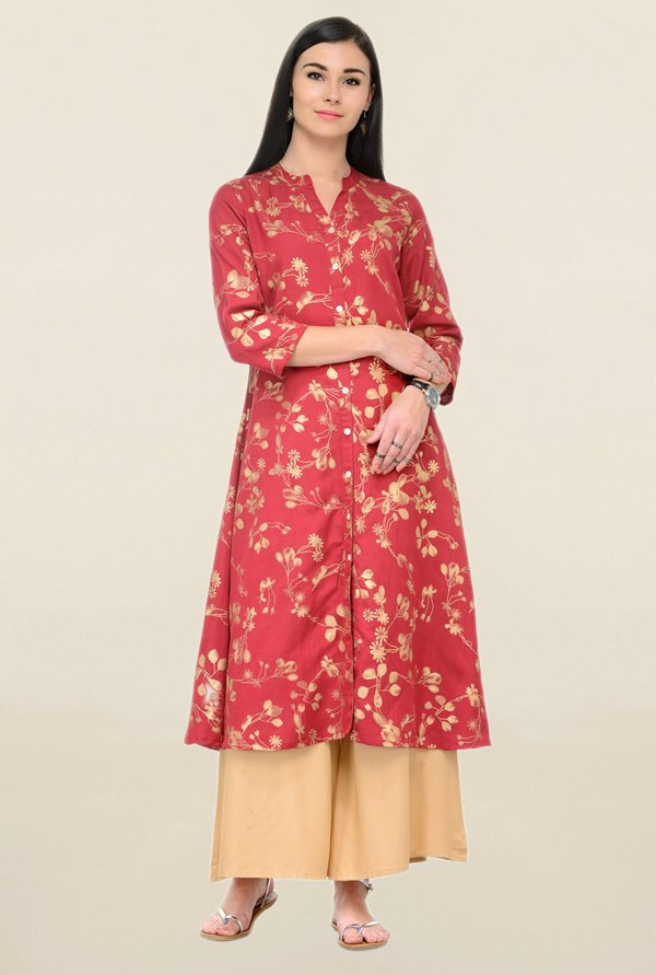 Varanga Red Printed Rayon Straight Kurta