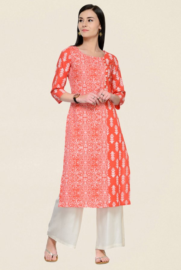 Varanga Orange & Off White Printed Cotton Kurta With Palazzo