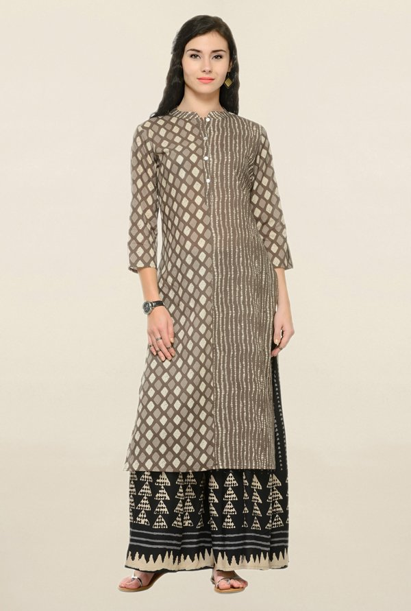 Varanga Grey & Black Printed Cotton Kurta With Palazzo