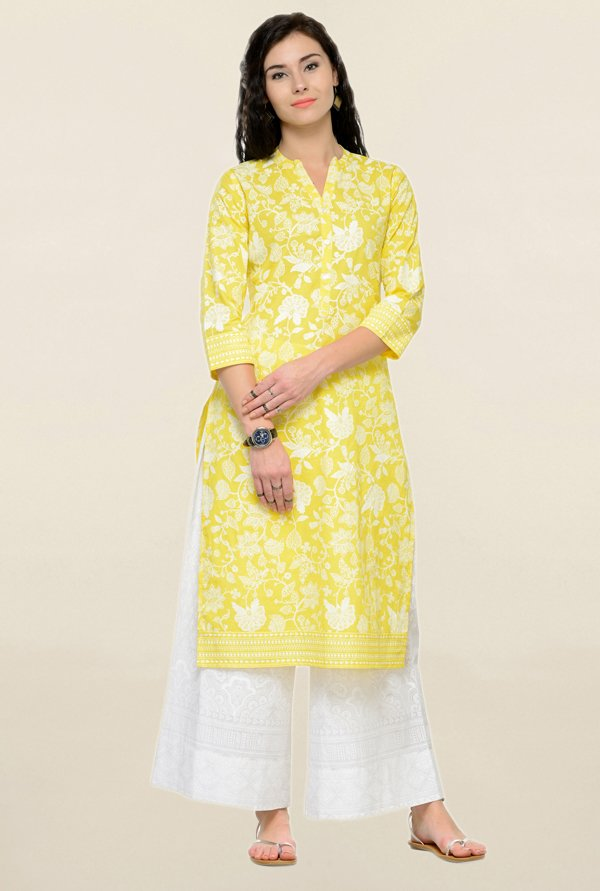Varanga Yellow & White Printed Cotton Kurta With Palazzo