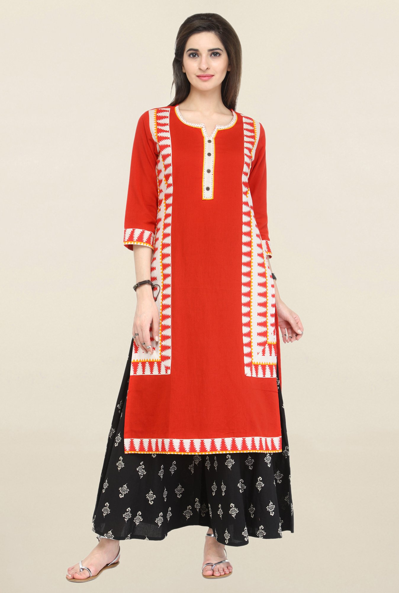 Varanga Red & Black Printed Flex Kurta With Palazzo