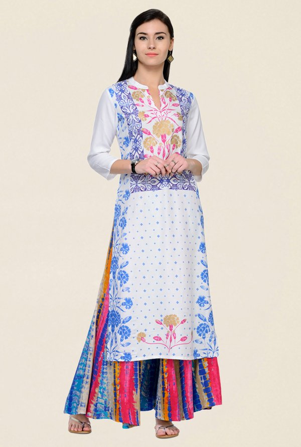 Varanga White & Blue Printed Rayon Kurta With Palazzo