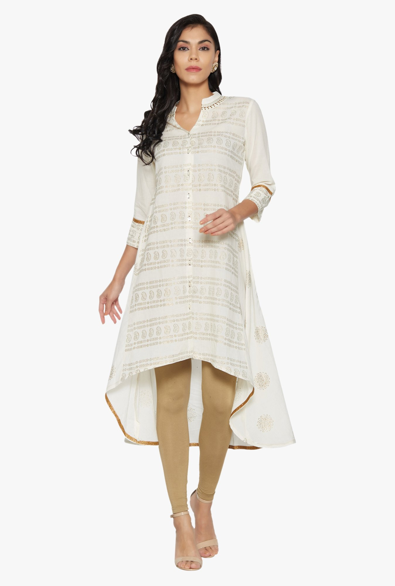 Globus Off White Printed Cotton Kurta