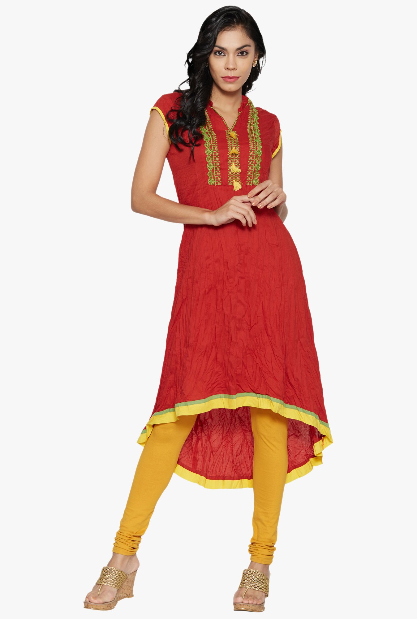 Globus Red Embroidered Cotton Kurta