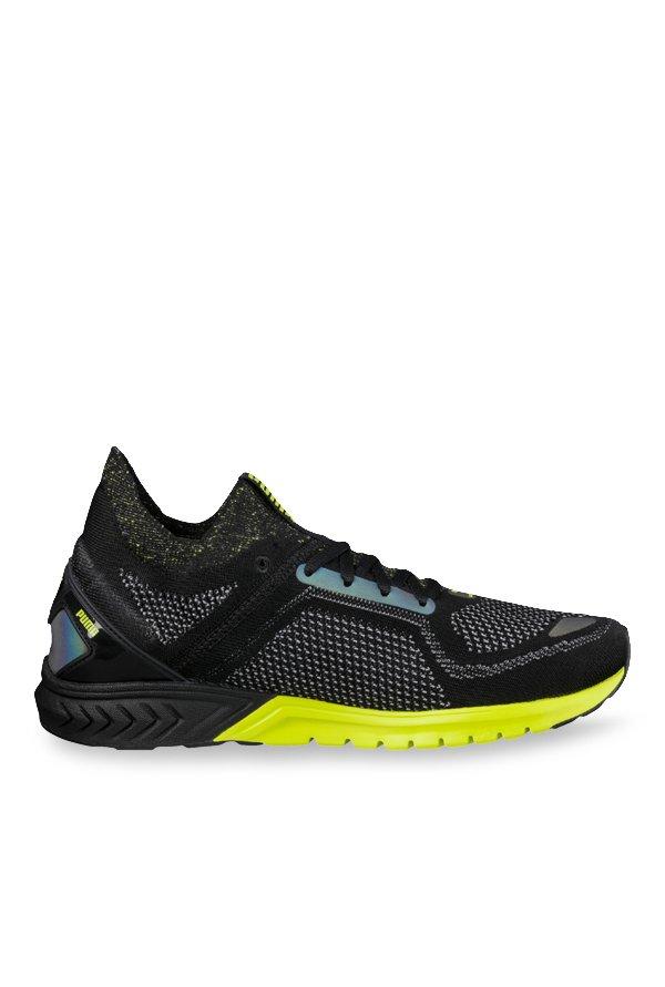 Buy Puma Ignite Dual evoKNIT NC Black   Lime Green Running Shoes for Men at Best  Price   Tata CLiQ 0330b6f1a