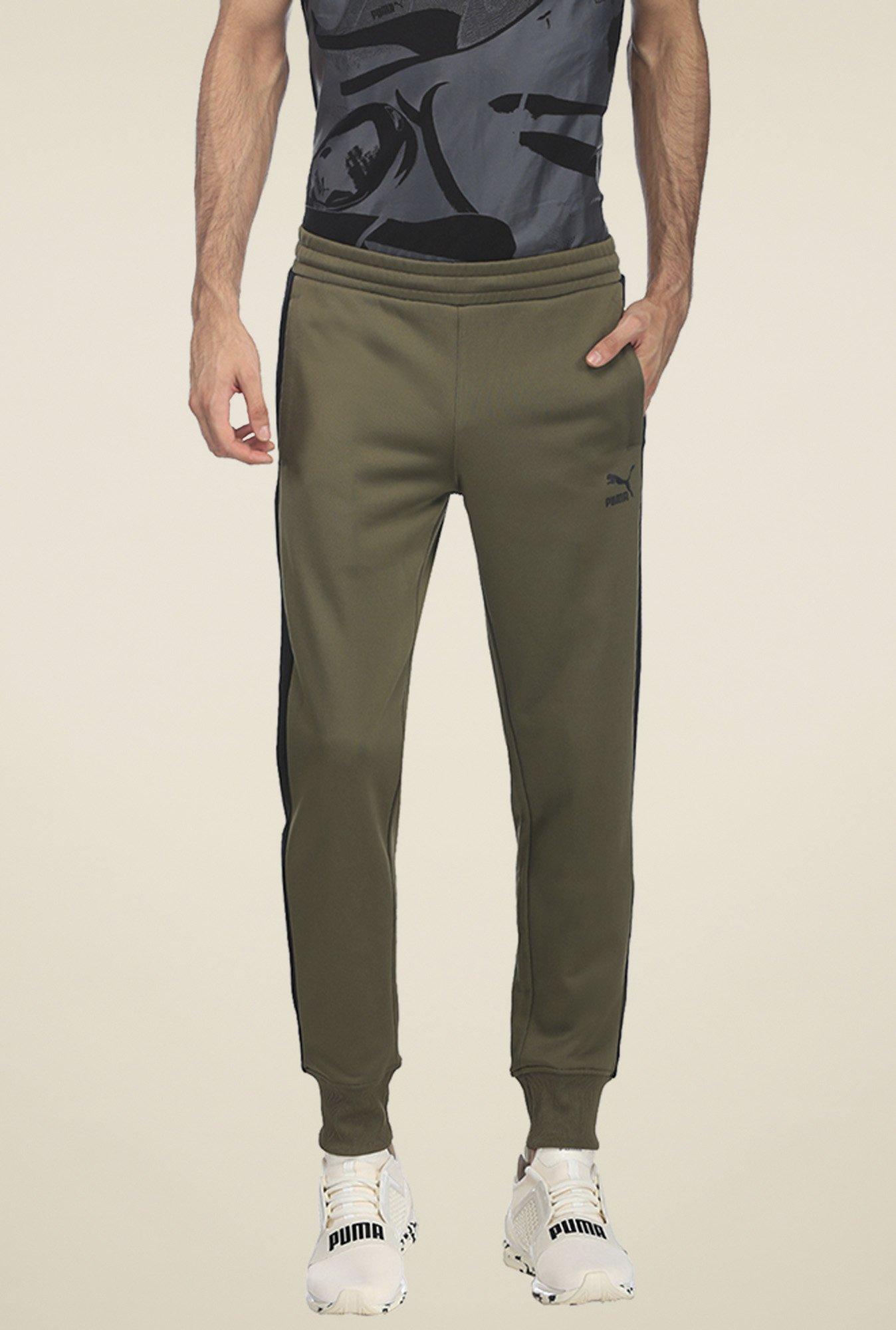 666c4f3f0c Buy Puma Olive Slim Fit Joggers for Men Online @ Tata CLiQ
