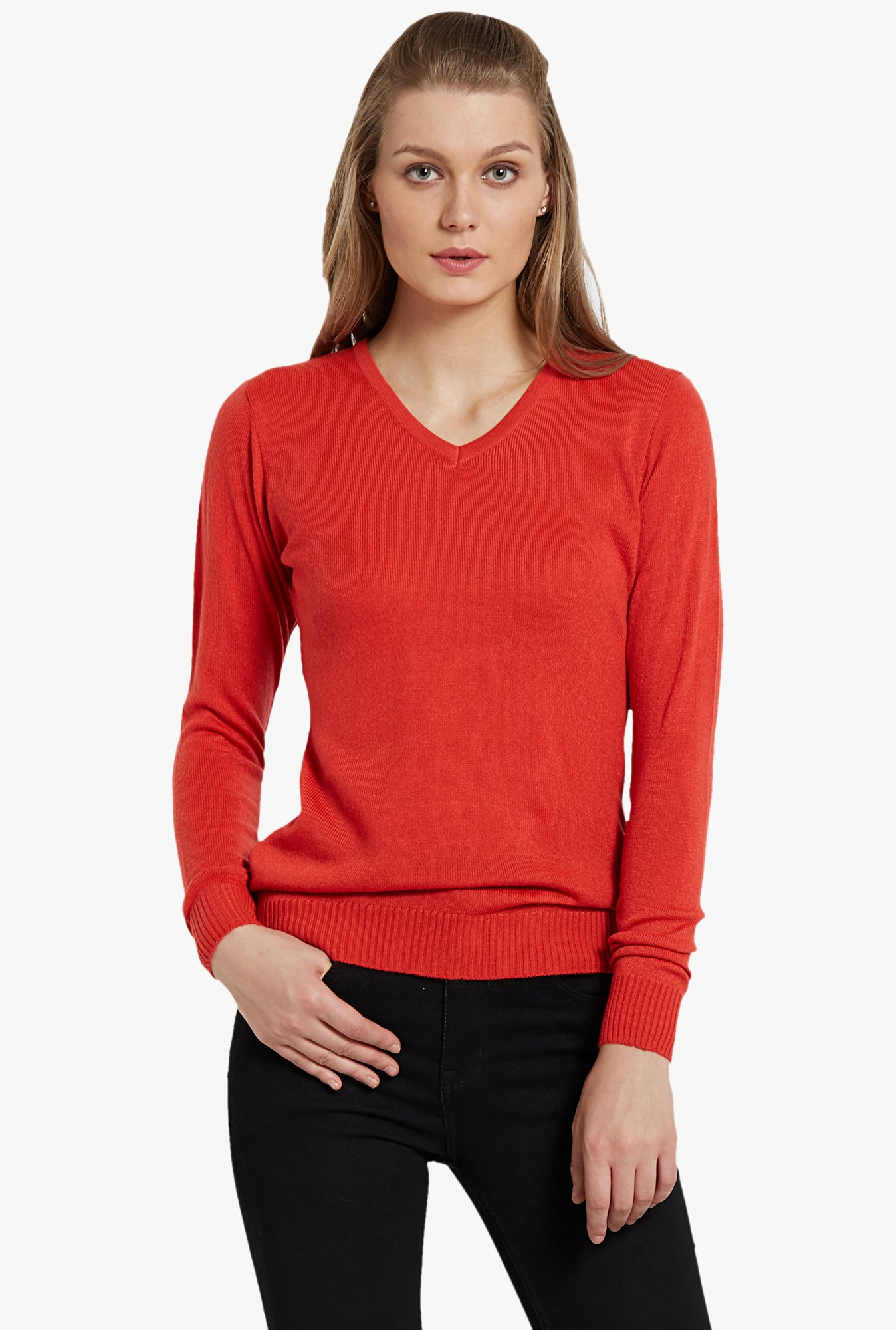 Globus Orange V Neck Pullover