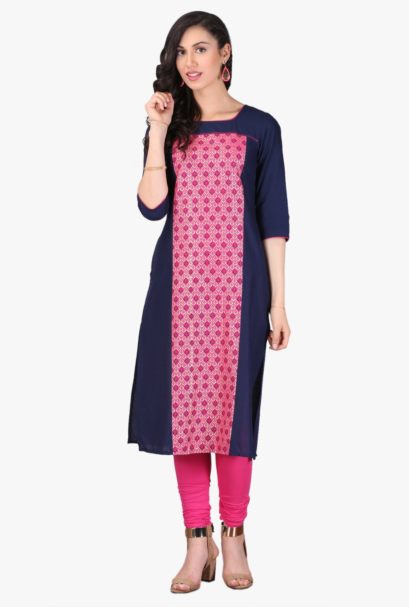 Aurelia Navy & Pink Printed Cotton Kurta