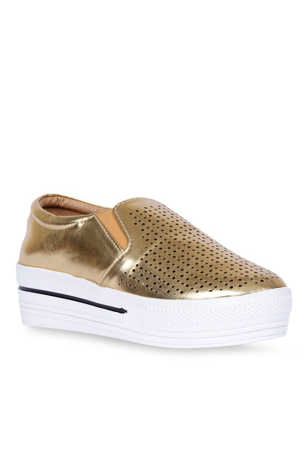 Lovely Chick Golden & White Plimsolls