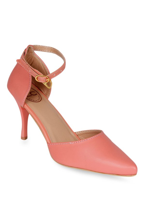 Lovely Chick Peach Ankle Strap D'orsay Stilettos