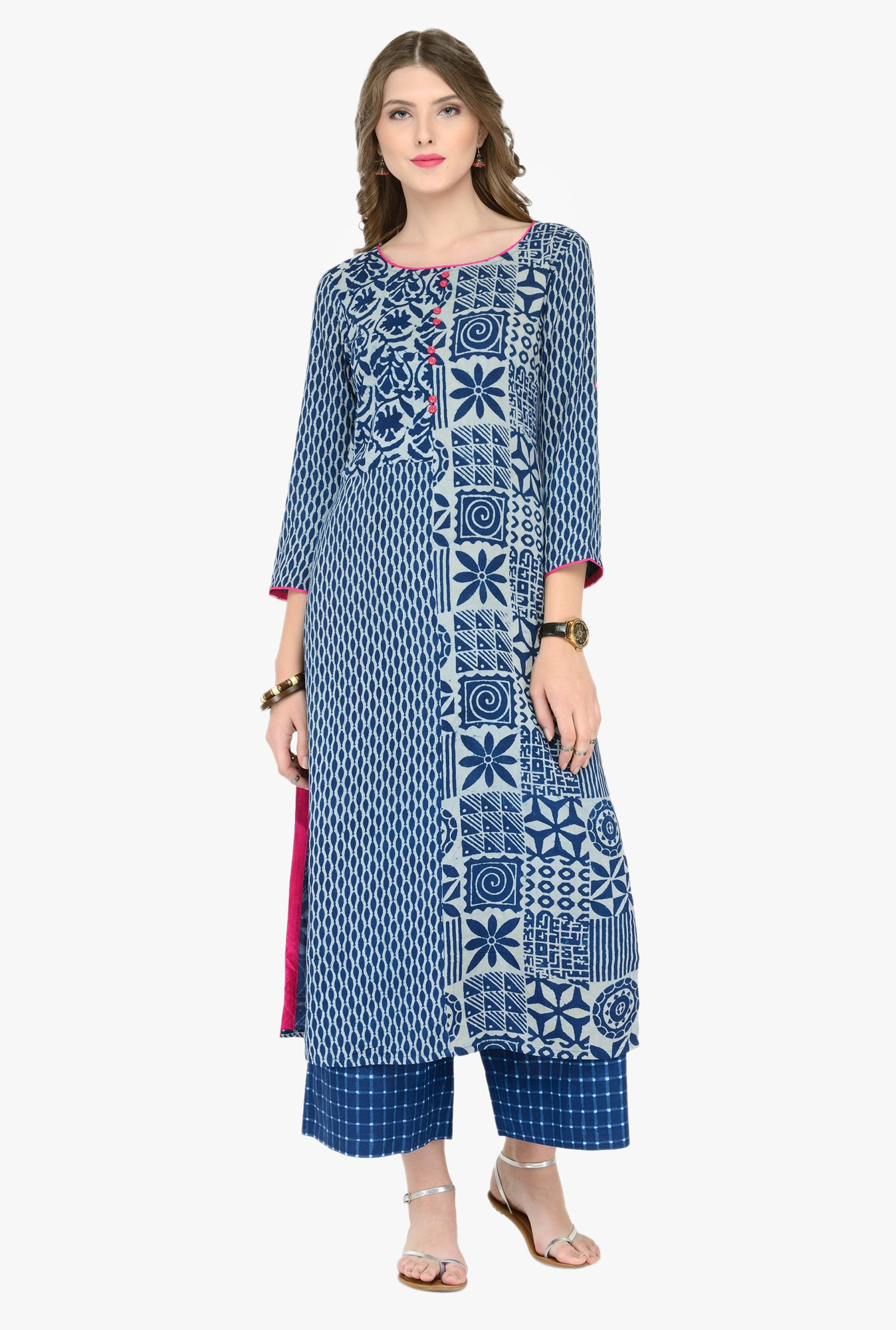 Varanga Blue & Blue Printed Kurta With Palazzos