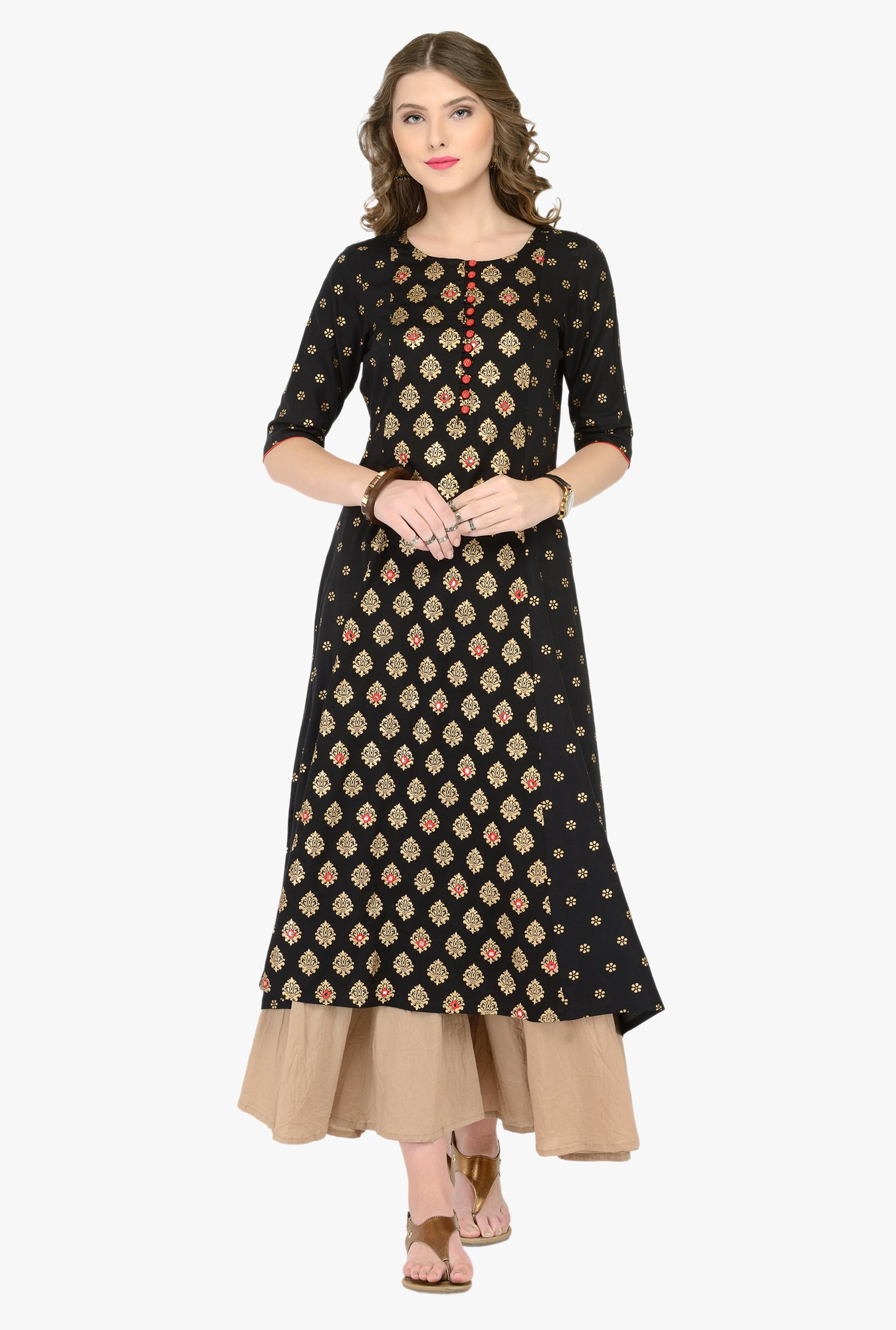 Varanga Black & Beige Printed Kurta With Palazzos