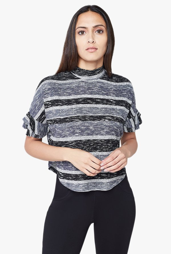 AND Black & Grey Striped Top