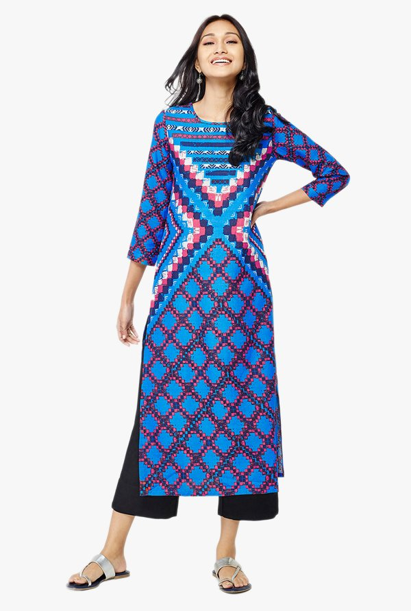 Global Desi Blue Printed Kurta