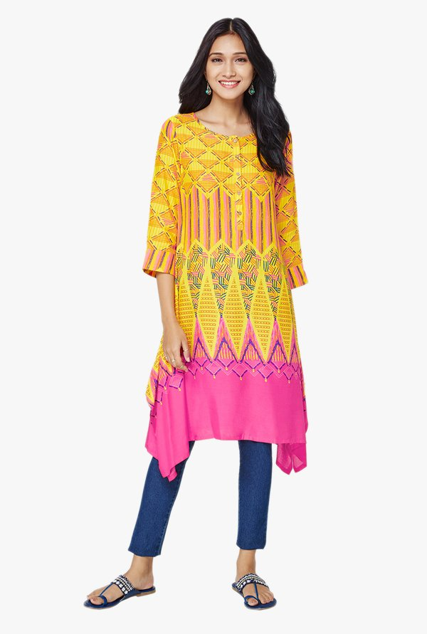 Global Desi Yellow Printed Asymmetric Kurta