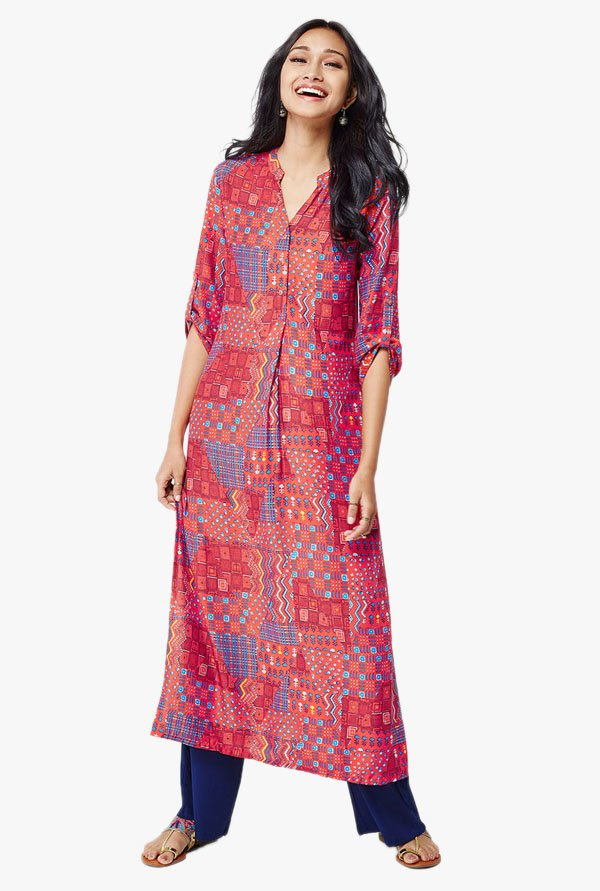 Global Desi Red Printed Kurta