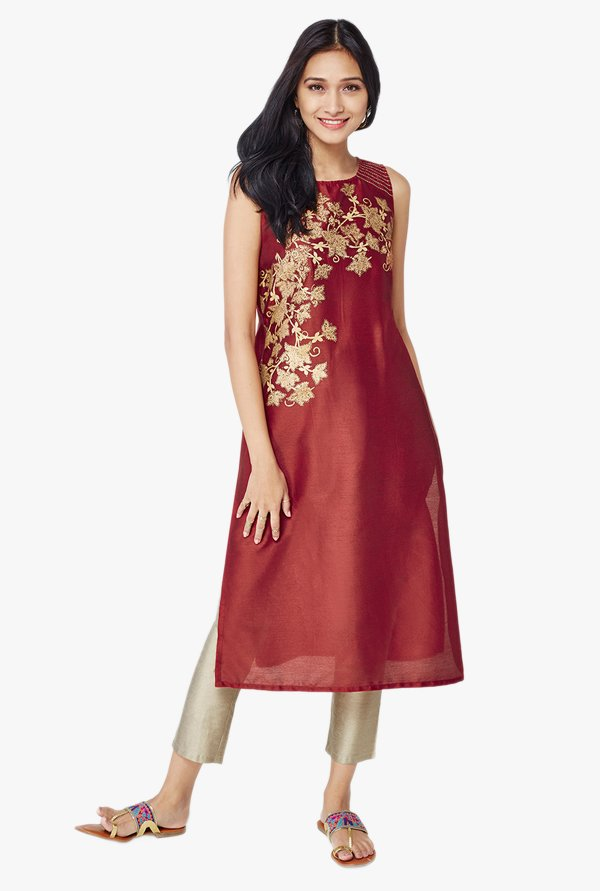 Global Desi Dark Red Blossom Foil Print Kurta