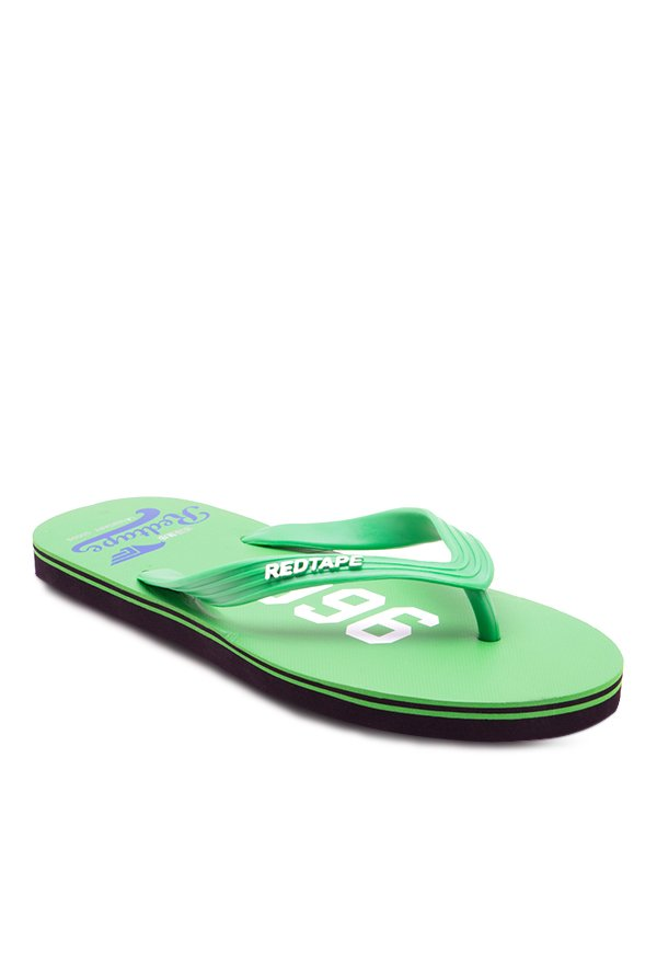 Red Tape Green & White Flip Flops