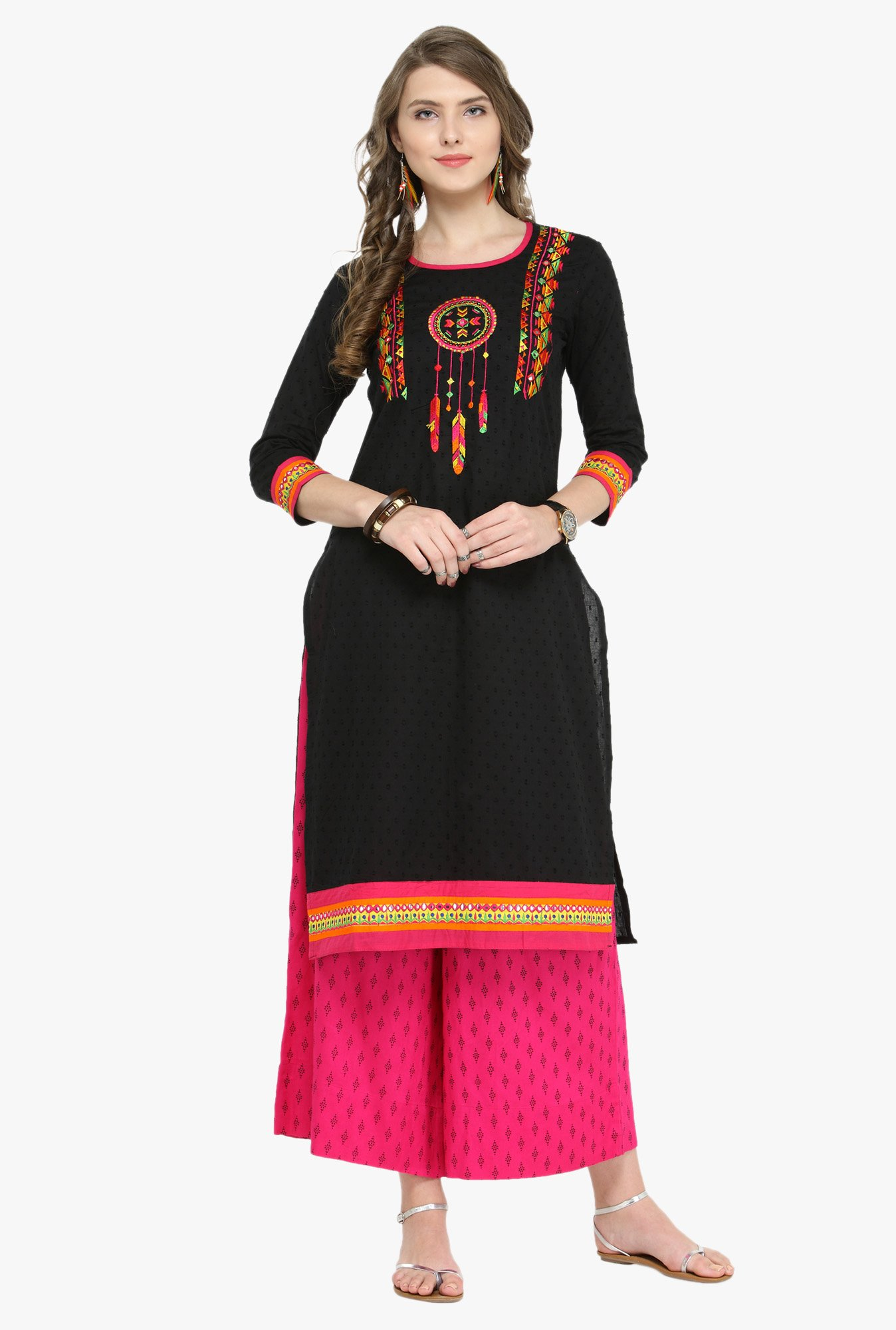 Varanga Black & Fuchsia Embroidered Cotton Kurta With Palazzo