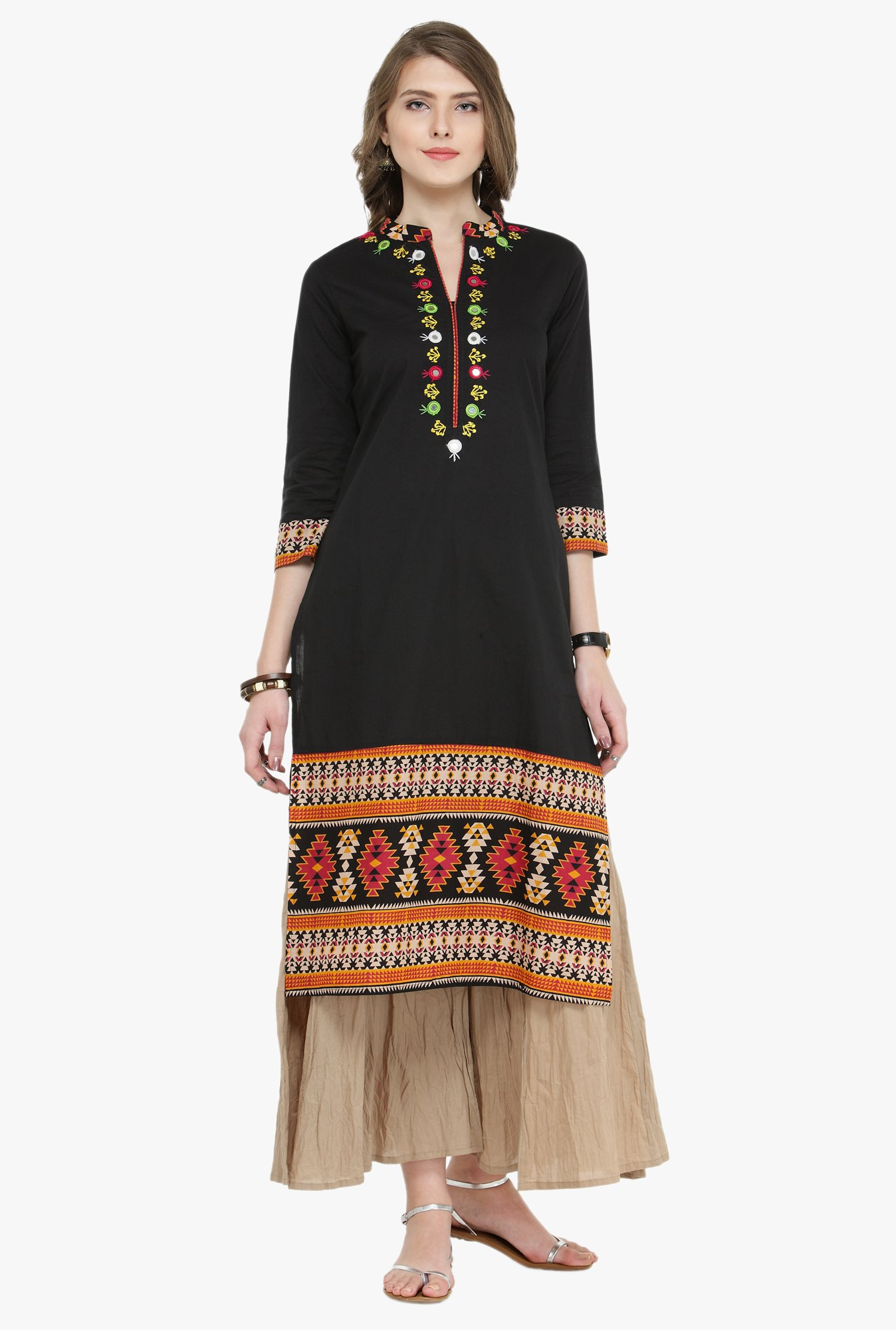 Varanga Black & Beige Embroidered Cotton Kurta With Palazzo