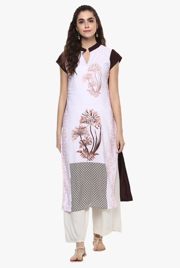 Ziyaa Light Pink Printed Kurta