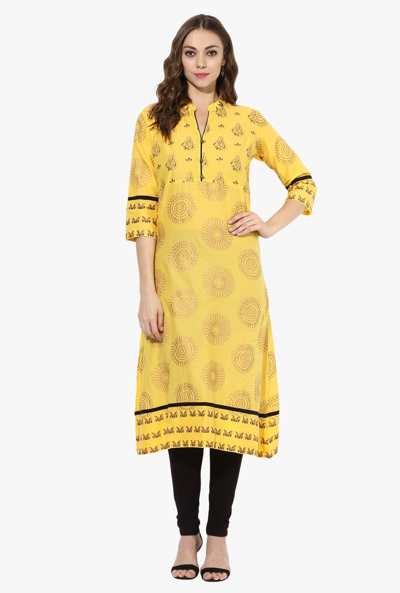 Mytri Yellow Printed Cotton A Line Kurta