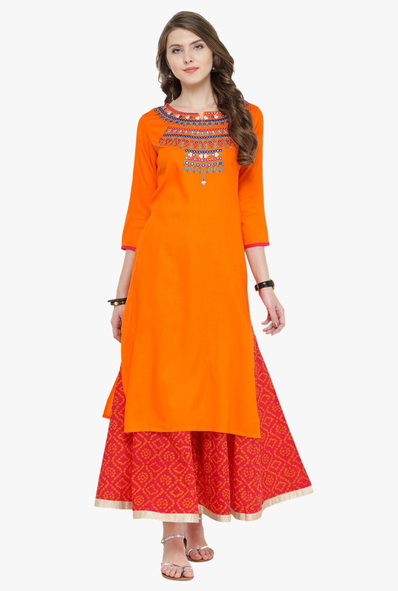 Varanga Orange & Pink Embroidered Cotton Kurta With Skirt
