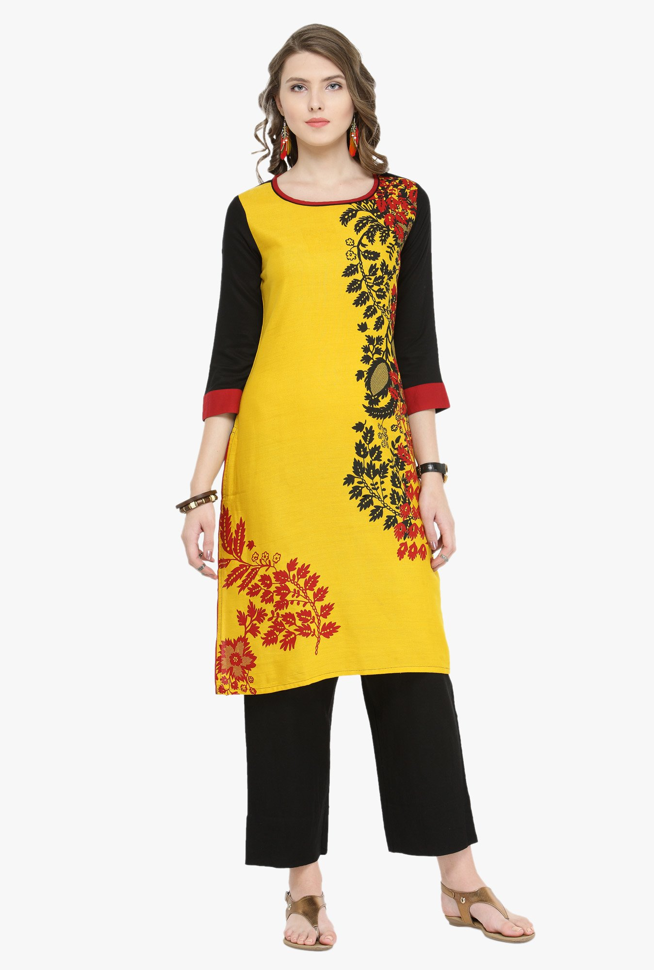 Varanga Mustard & Black Printed Kurta With Pants