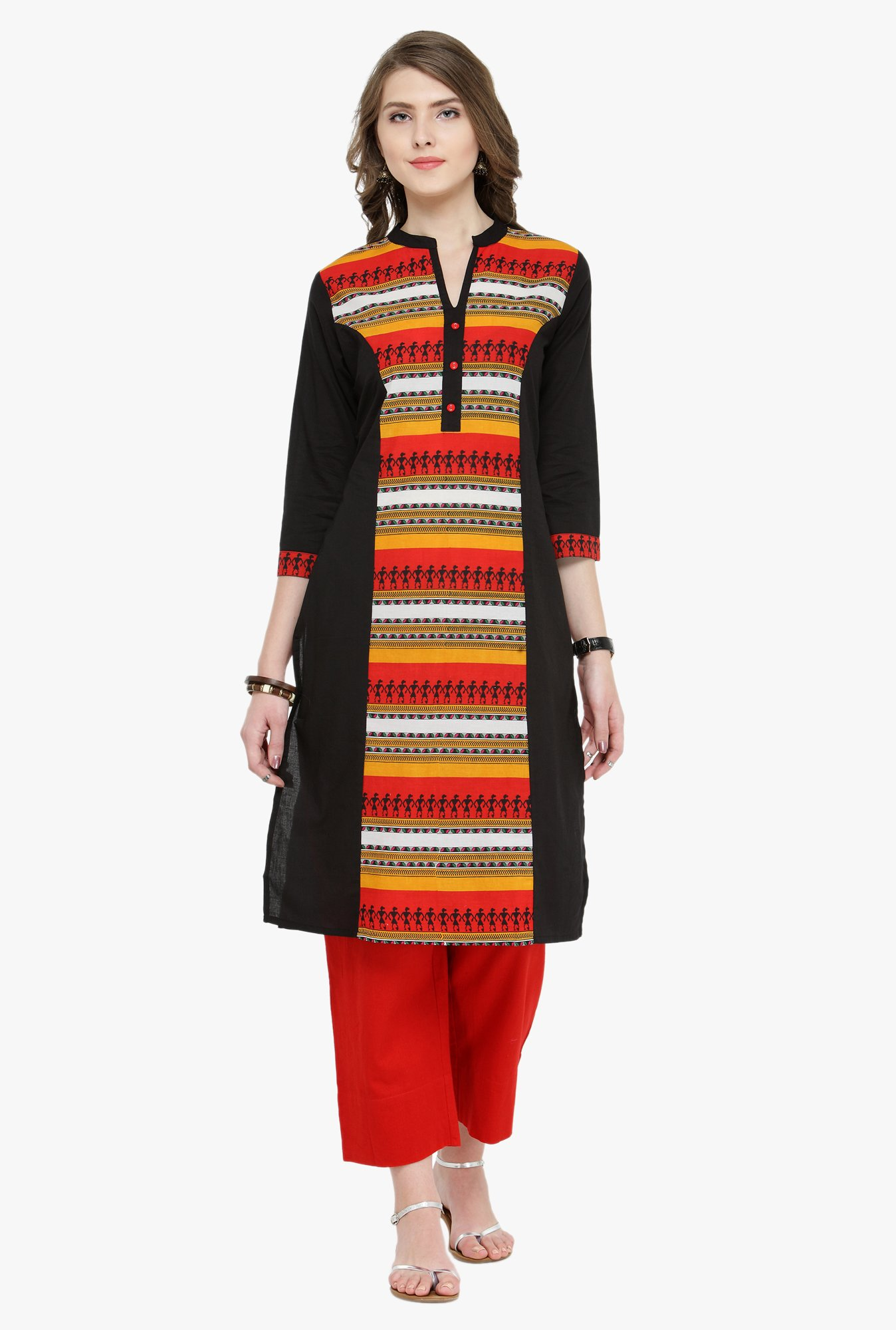 Varanga Black & Red Printed Cotton Kurta With Pants