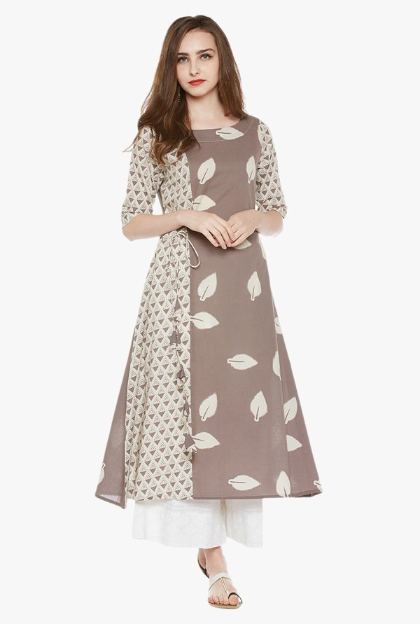 Varanga Beige & White Printed Cotton Kurta With Palazzo