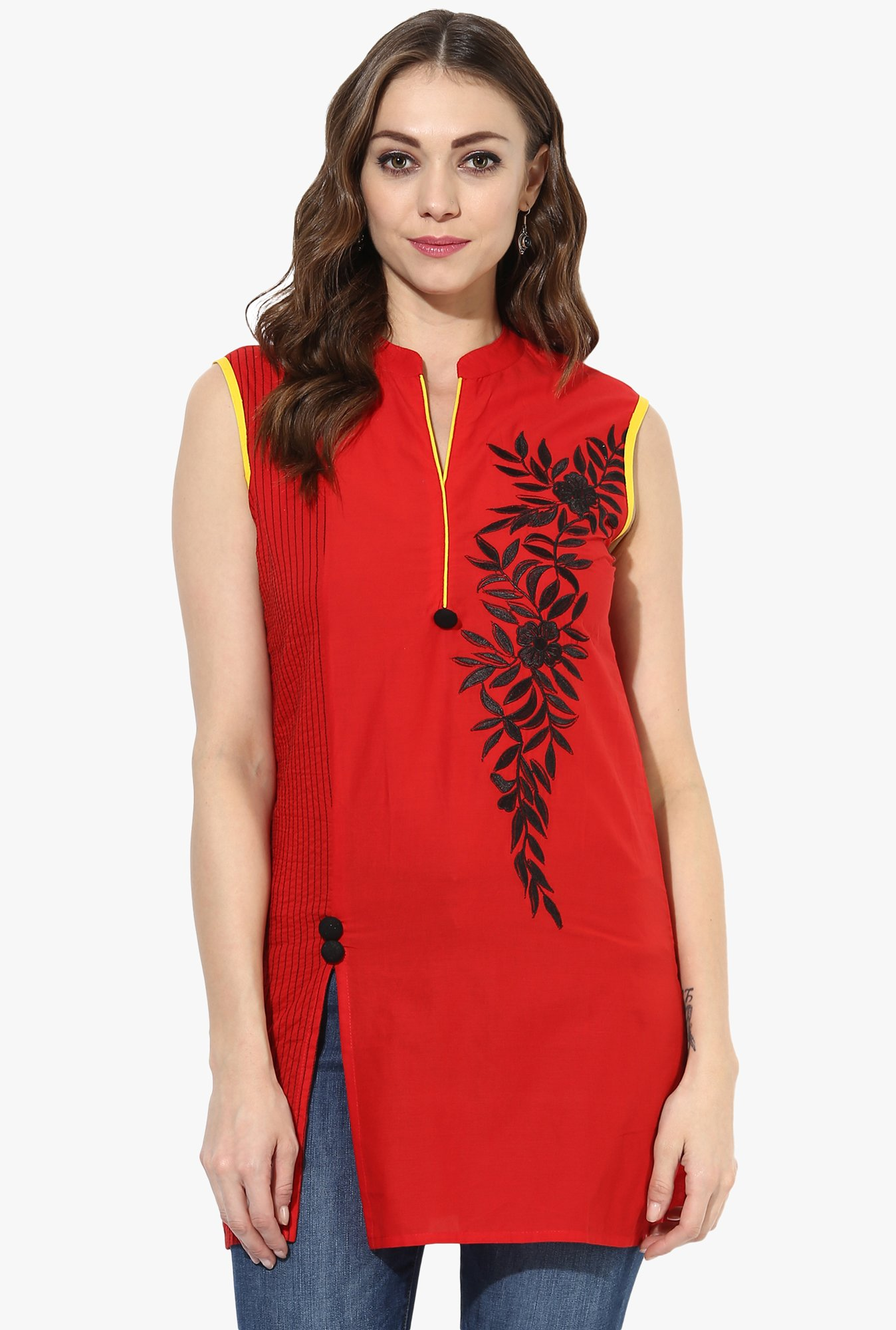 Mytri Red Embroidered Cotton Straight Kurti