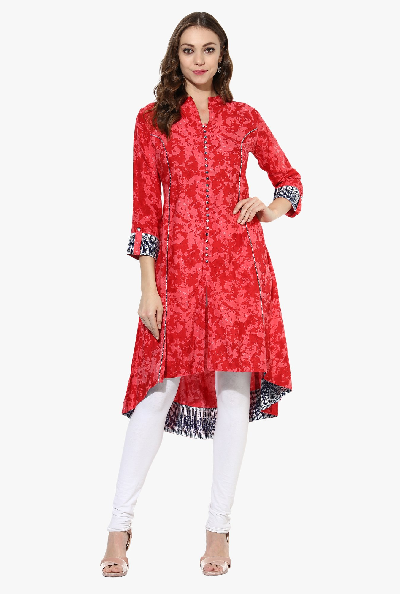 Mytri Pink Printed Rayon High Low Kurta