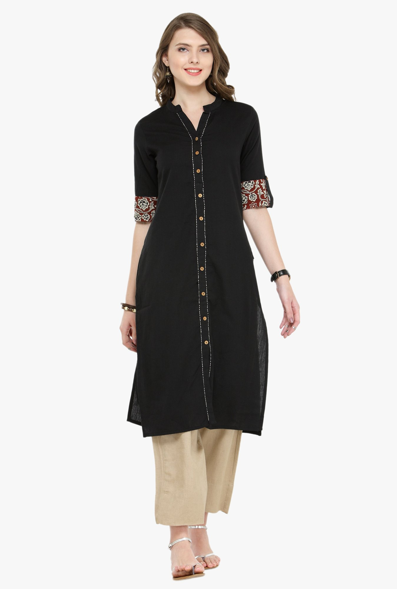 Varanga Black & Beige Cotton Kurta With Pants