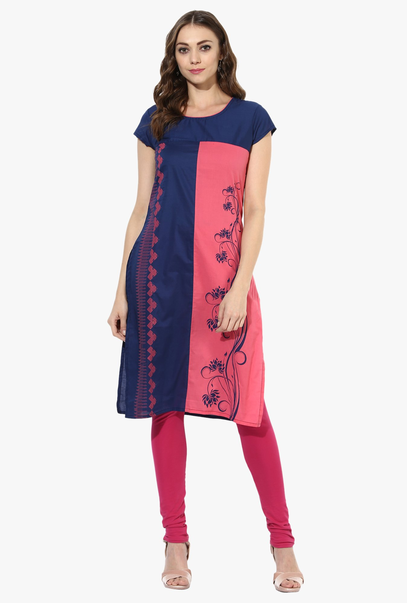 Mytri Pink & Navy Printed Cotton Straight Kurta