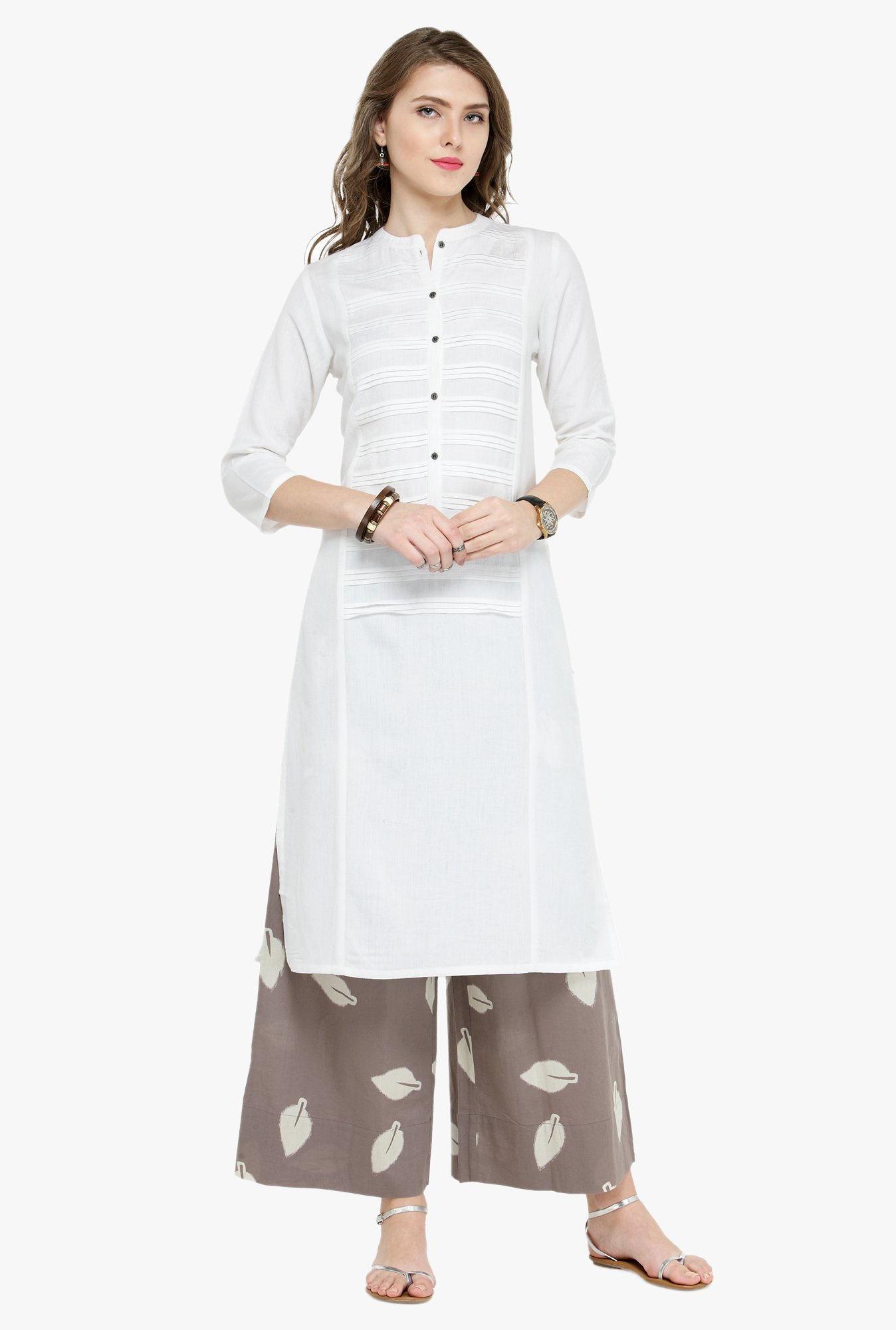 Varanga White & Grey Regular Fit Kurta With Palazzo