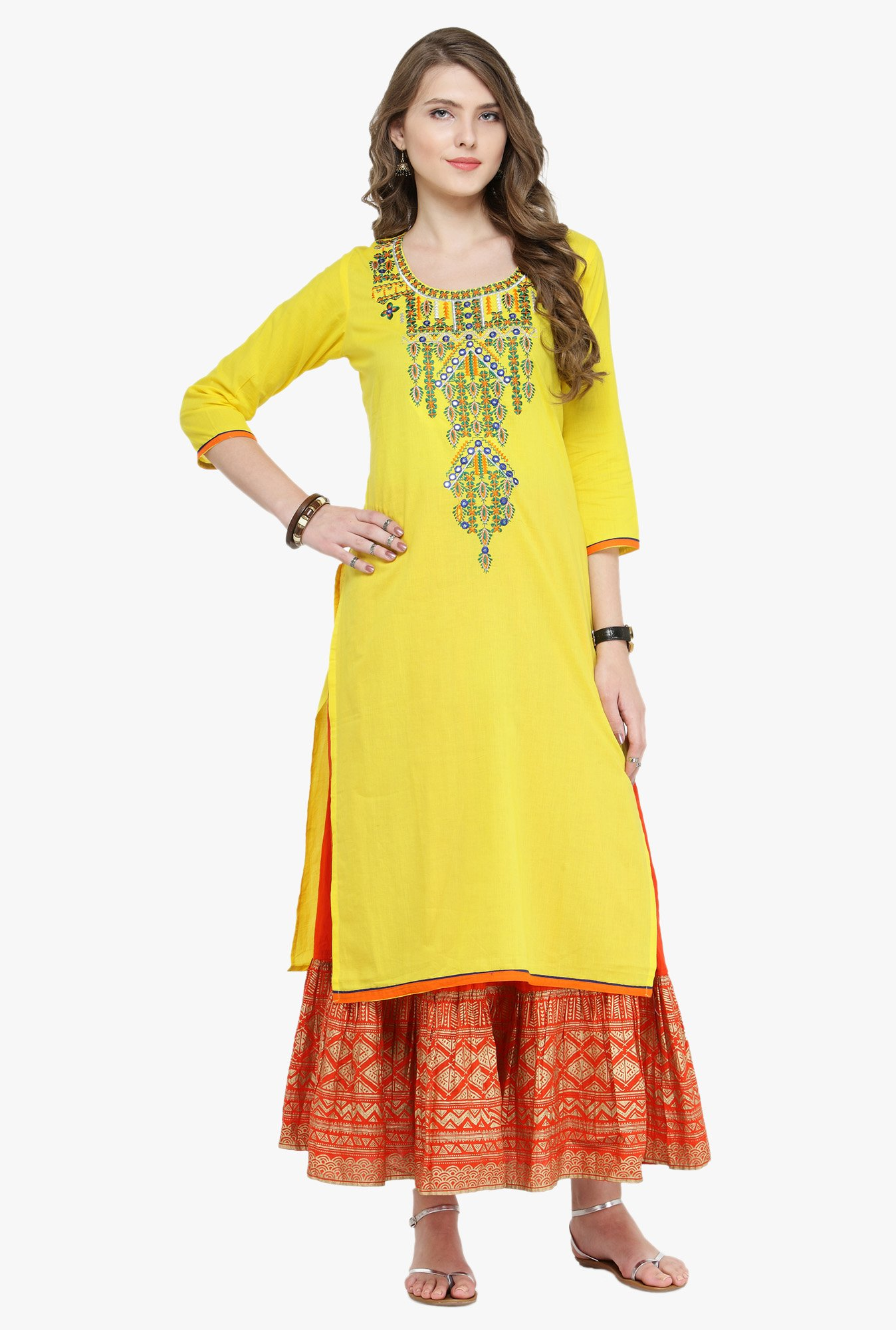 Varanga Yellow & Rust Embroidered Cotton Kurta With Skirt