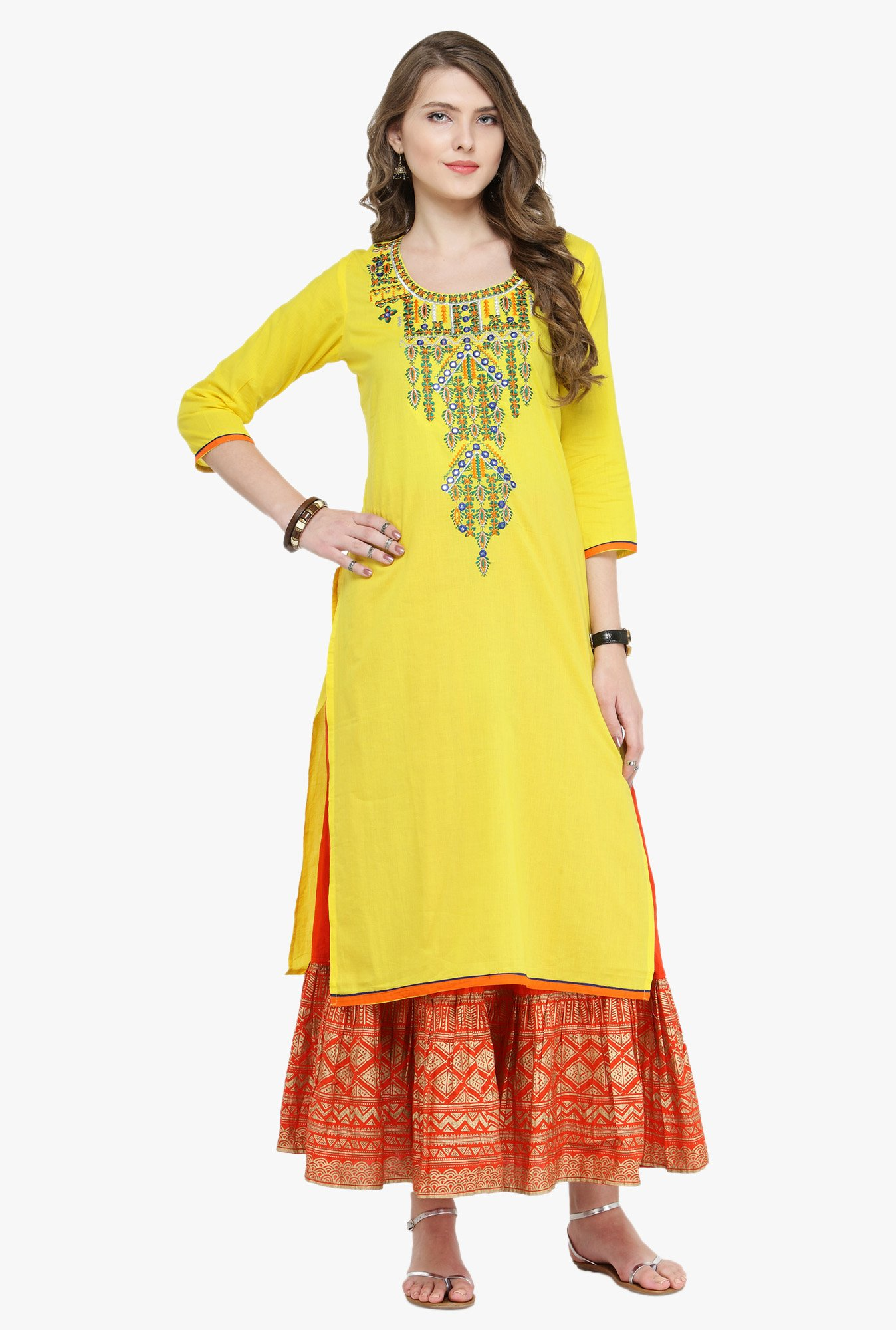 Varanga Yellow Embroidered Kurta