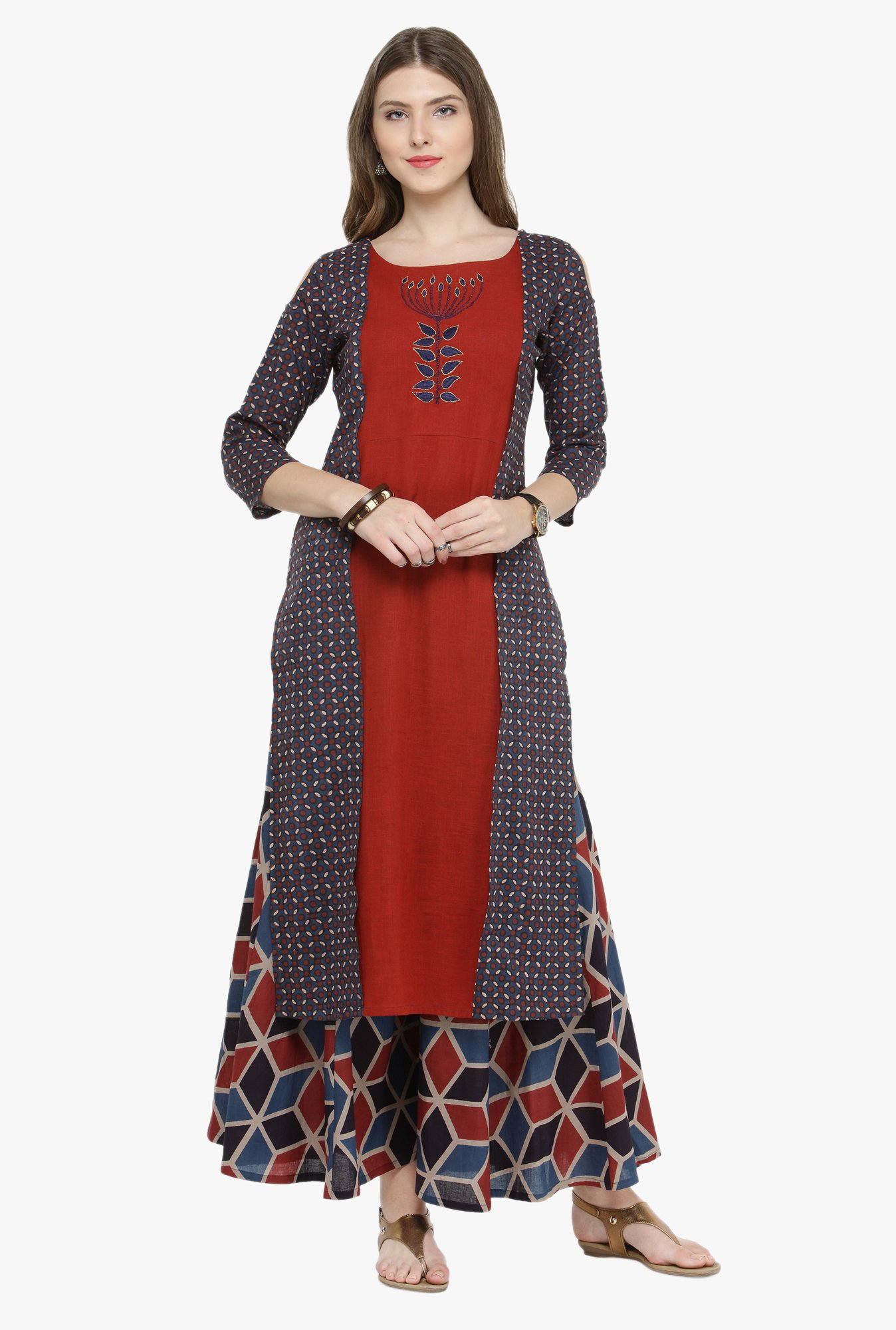 Varanga Maroon Embroidered Kurta
