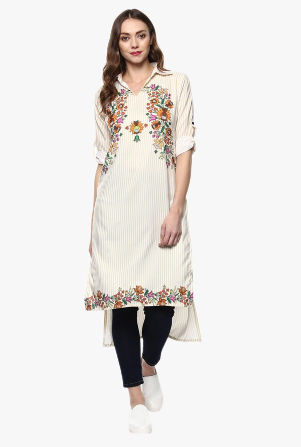 Ziyaa White Striped Kurta