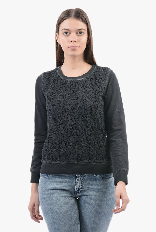 Pepe Jeans Grey Lace Sweatshirt